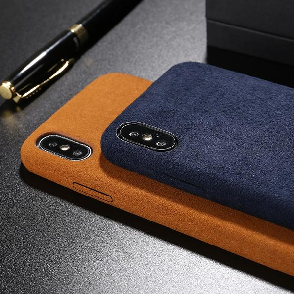 Coque luxueuse en fourrure douce anti traces d'empreintes pour iPhone XR