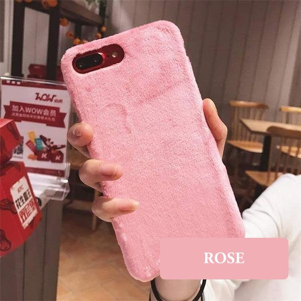 Coque luxueuse en fourrure douce pour iPhone 6 Plus et iPhone 6S Plus de couleur Rose
