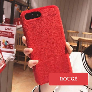 Coque luxueuse en fourrure douce pour iPhone 6 Plus et iPhone 6S Plus de couleur Rouge