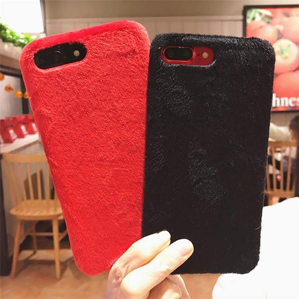 Coque luxueuse en fourrure douce pour iPhone 7 Plus