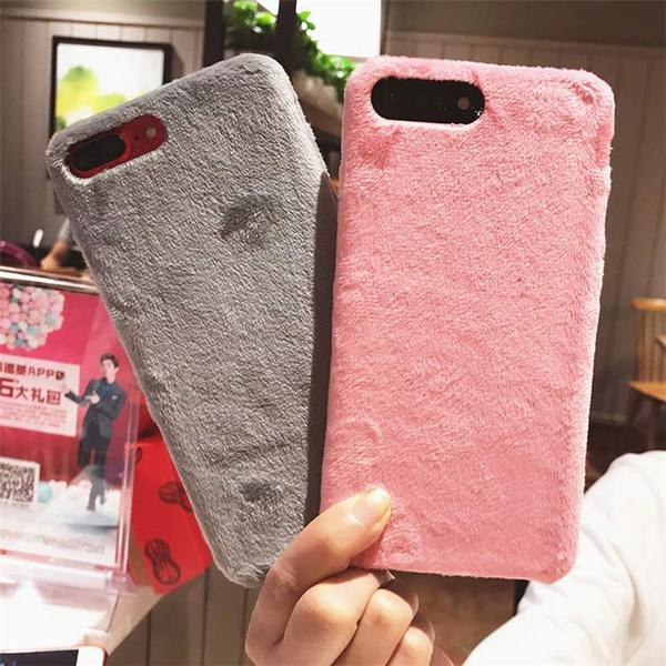 Coque luxueuse en fourrure douce pour iPhone 8 Plus