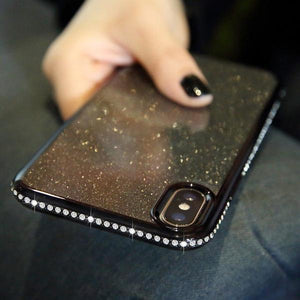 Coque luxueuse incrustée de strass et ultra brillante pour iPhone 6 Plus et iPhone 6S Plus de couleur Noir