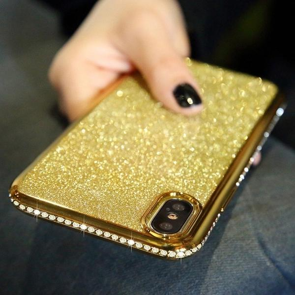 Coque luxueuse incrustée de strass et ultra brillante pour iPhone 7 de couleur Or