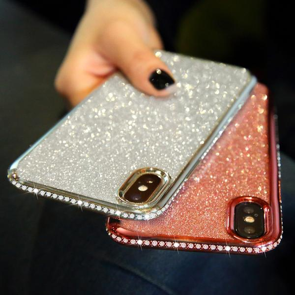 Coque luxueuse incrustée de strass et ultra brillante pour iPhone 8 -