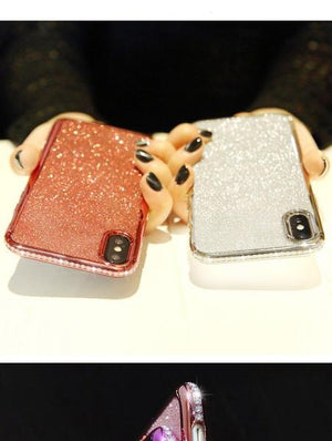 Coque luxueuse incrustée de strass et ultra brillante pour iPhone X