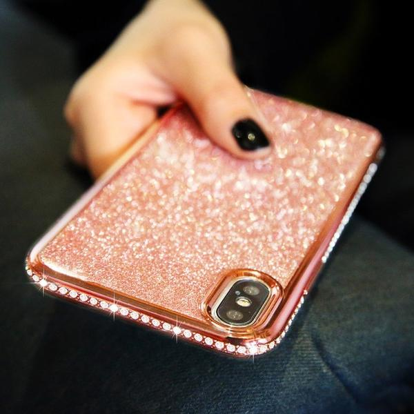Coque luxueuse incrustée de strass et ultra brillante pour iPhone X de couleur Rose