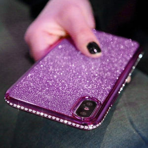 Coque luxueuse incrustée de strass et ultra brillante pour iPhone X de couleur Violet