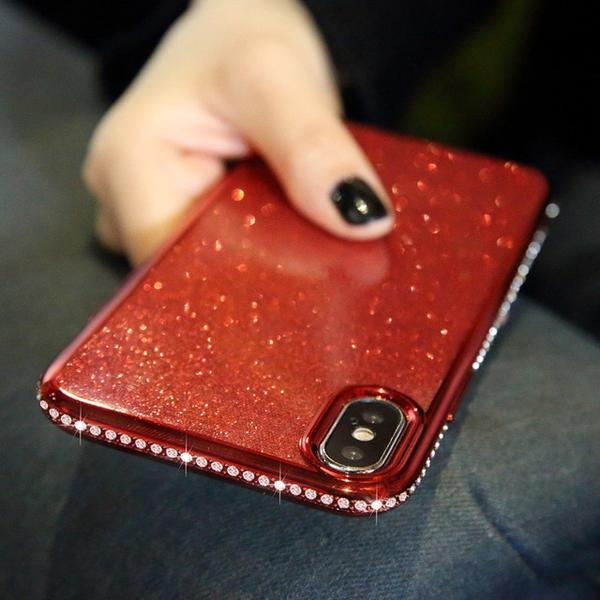 Coque luxueuse incrustée de strass et ultra brillante pour iPhone XR de couleur Rouge