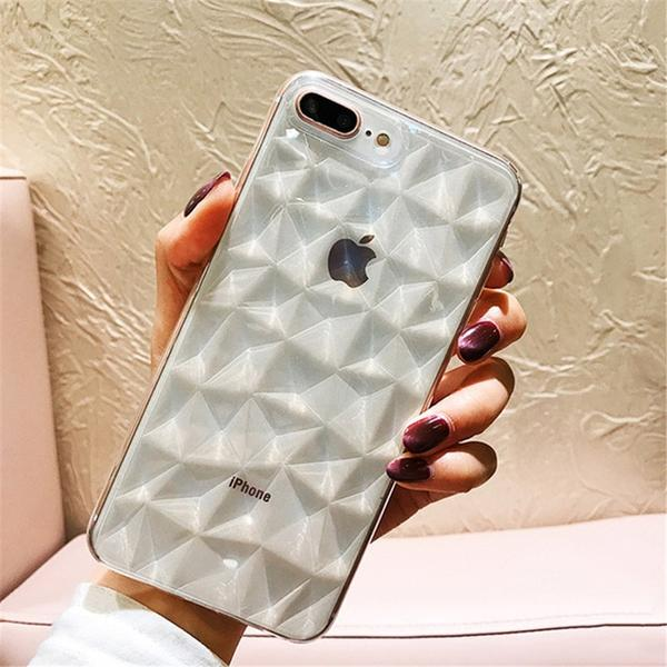 Coque luxueuse transparente à texture diamant pour iPhone XS Max Transparent