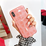 Coque luxueuse transparente à texture diamant pour iPhone XS Max Transparent Rose