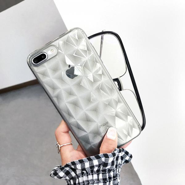 Coque luxueuse transparente à texture diamant pour iPhone XS Transparent Noir