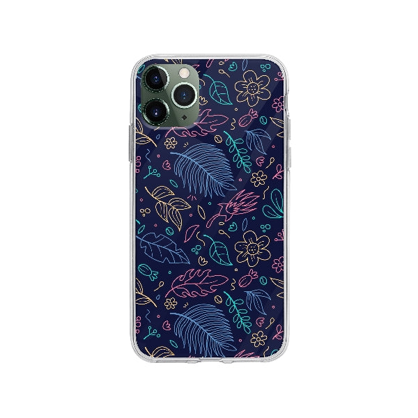 Coque Contour Floral pour iPhone 11 Pro Max - Transparent