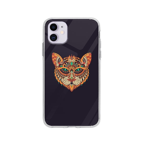 Coque Dessin Chat Mandala pour iPhone 11 - Transparent