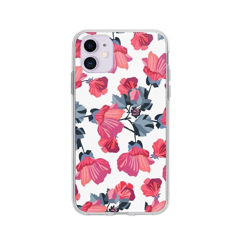 Coque Motif Floral Bordeaux pour iPhone 11 - Transparent