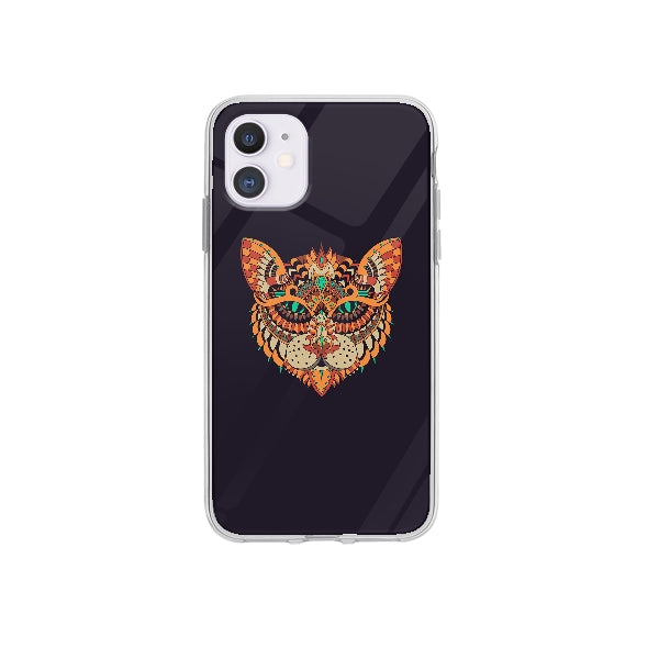 Coque Dessin Chat Mandala pour iPhone 12 Max - Transparent