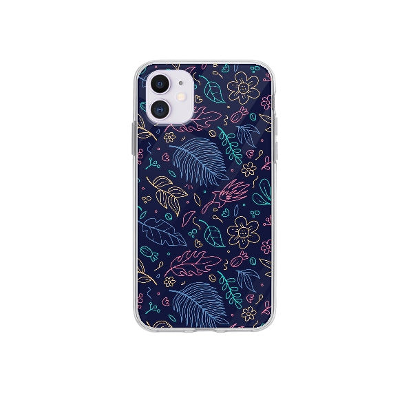 Coque Contour Floral pour iPhone 12 - Transparent