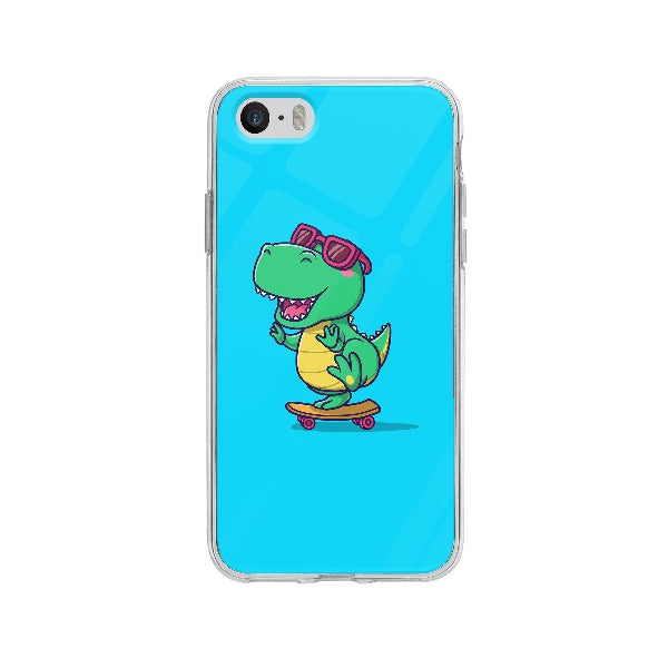Coque Dinosaure En Skateboard pour iPhone 5S - Transparent