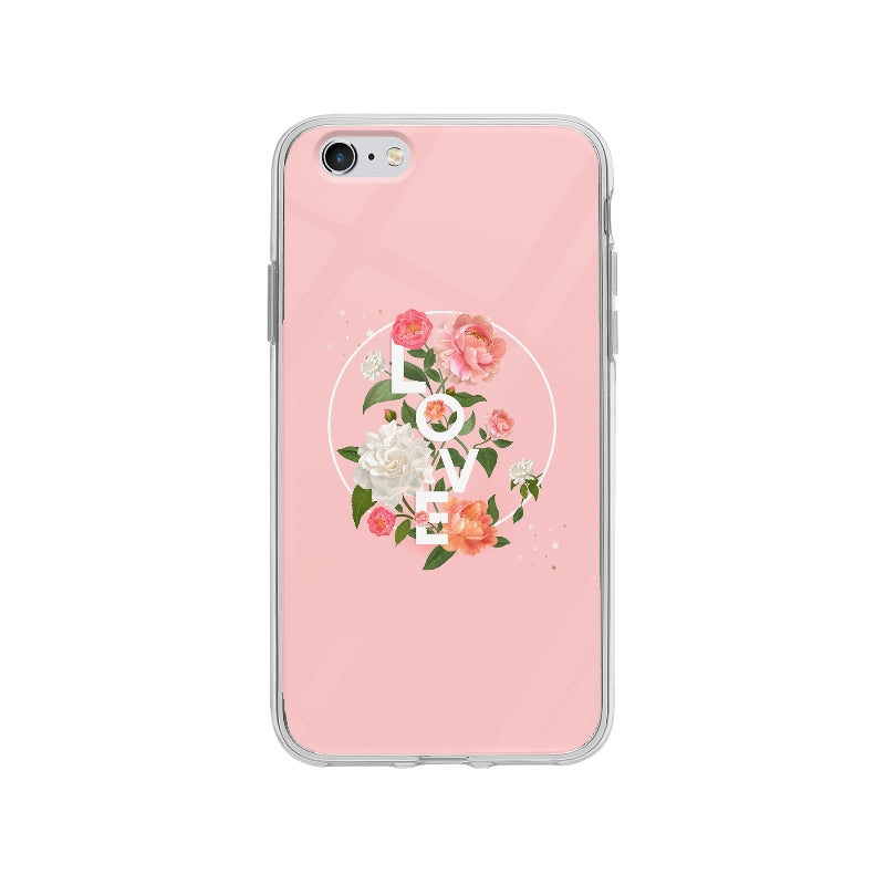 Coque Badge Love Floral pour iPhone 6 Plus - Transparent