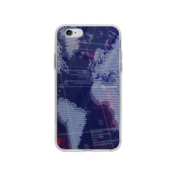 Coque Carte Du Monde Holographique pour iPhone 6 - Transparent