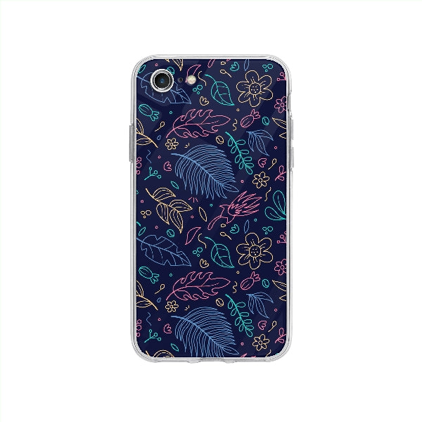 Coque Contour Floral pour iPhone SE 2020 - Transparent