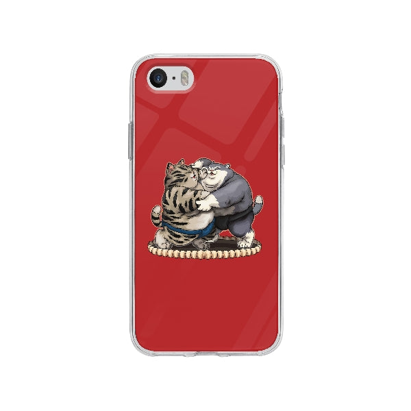 Coque Chats Sumo pour iPhone SE - Transparent