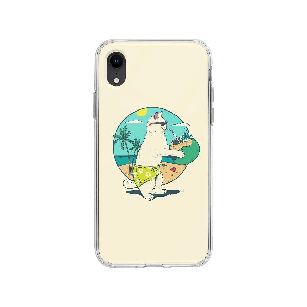 Coque Chat En Vacances pour iPhone XR - Transparent