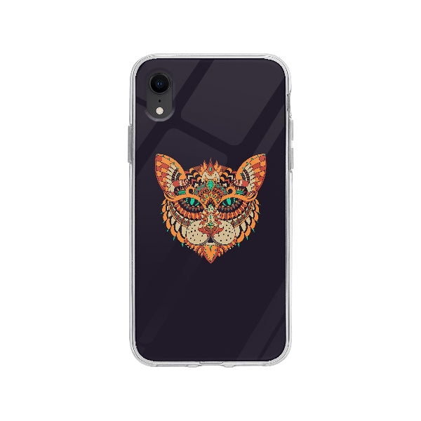 Coque Dessin Chat Mandala pour iPhone XR - Transparent