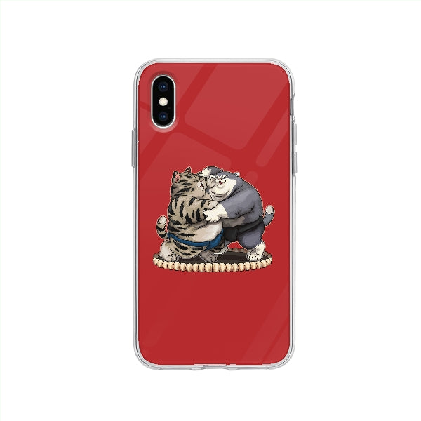Coque Chats Sumo pour iPhone XS - Transparent