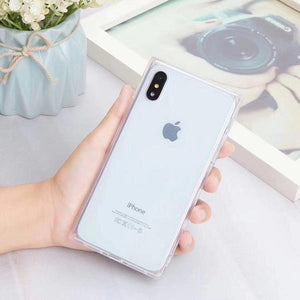 Coque rectangulaire de luxe en silicone pour iPhone X Transparent