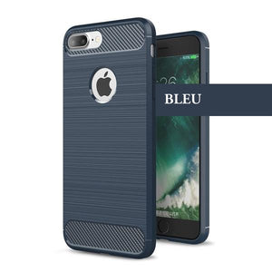 Coque reproduction carbone brossé anti traces d'empreintes pour iPhone 6 Plus et iPhone 6S Plus de couleur Bleu