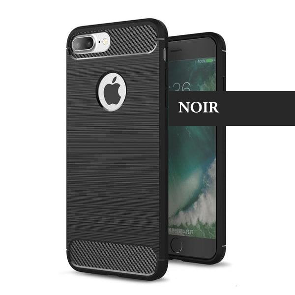 Coque reproduction carbone brossé anti traces d'empreintes pour iPhone 6 Plus et iPhone 6S Plus de couleur Noir