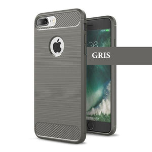 Coque reproduction carbone brossé anti traces d'empreintes pour iPhone 8 Plus de couleur Gris