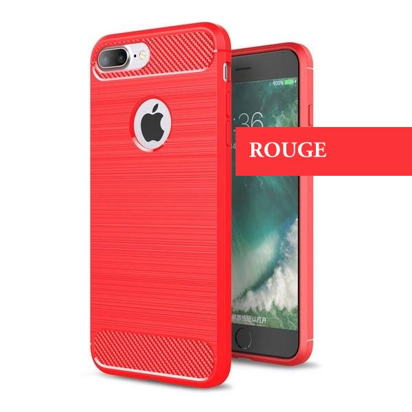 Coque reproduction carbone brossé anti traces d'empreintes pour iPhone 8 Plus de couleur Rouge