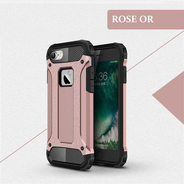Coque ultra résistante de type armure hybride pour iPhone 6 Plus et iPhone 6S Plus de couleur Rose Or