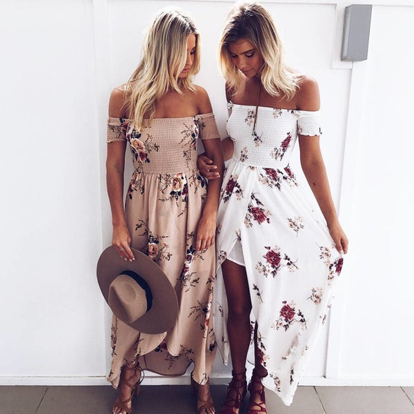 Boho Style Long Dress Women Off Shoulder Beach Floral Print Vintage Dress