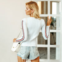 New 2018 autumn Stripe knitted sweater slim fit pullover