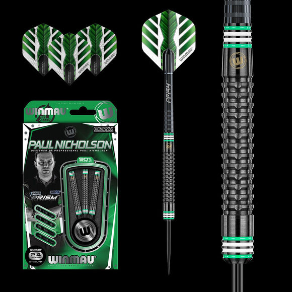 Paul Nicholson Winmau 90% Tungsten ONYX Grip Dart Set - Aussie Dart Supplies Online