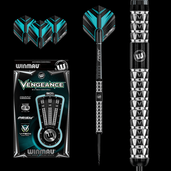 Winmau Vengence 90% Tungsten ONYX Grip Darts Set.