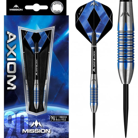 Mission Axiom Darts Steel Tip Blue M4 Centre Ring Darts Set