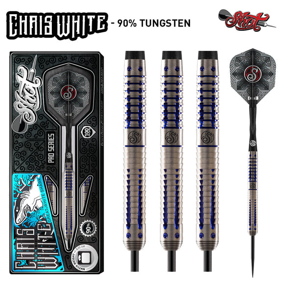 Shot Pro Series-Chris White Steel Tip Dart Set-90% Tungsten Barrels