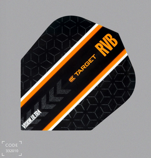 Raymond Van Barneveld Vision Ultra Black & Orange No6 100 Micron Flights - Aussie Dart Supplies Online