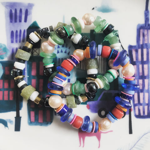 Slide on bracelets with mixed materials