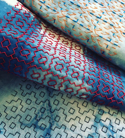 sashiko embroidery hand dyed fabric