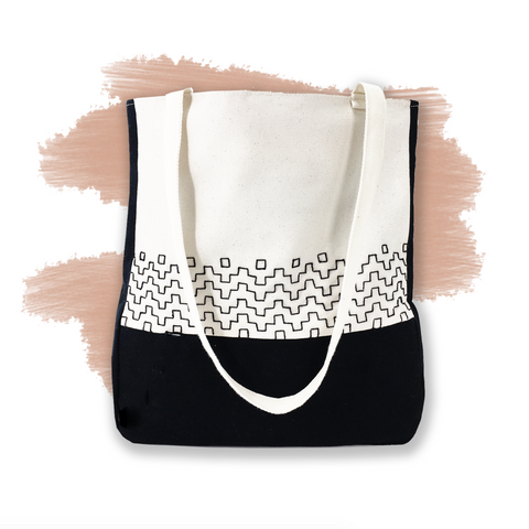 sashiko embroidered tote bag