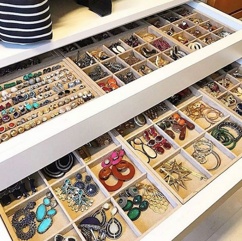 Jewelry in drawer organizers