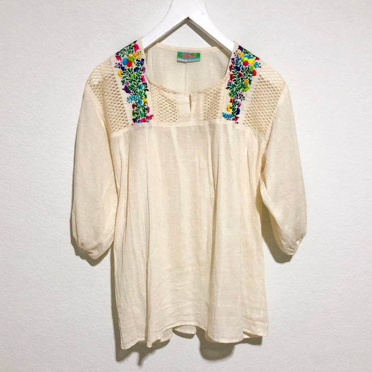 Women's Natural Stephania Blouse with Floral Embroidery (One Size)
