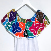 White Bardot Blouse with Multicolor Jalapa