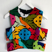 Multicolor Birds Crewneck Crop Top (Medium)