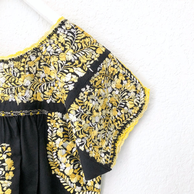 Black and Yellow Antonia I Short Sleeve Dress (Large)