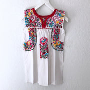 White Multi with Thick Red Piping Antonia II Sleeveless Blouse (XS)